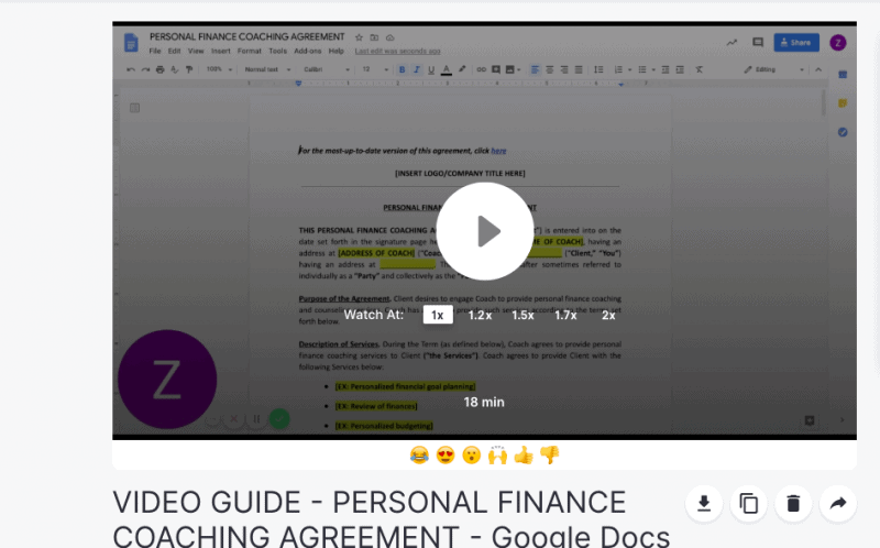 personal finance coach contract template